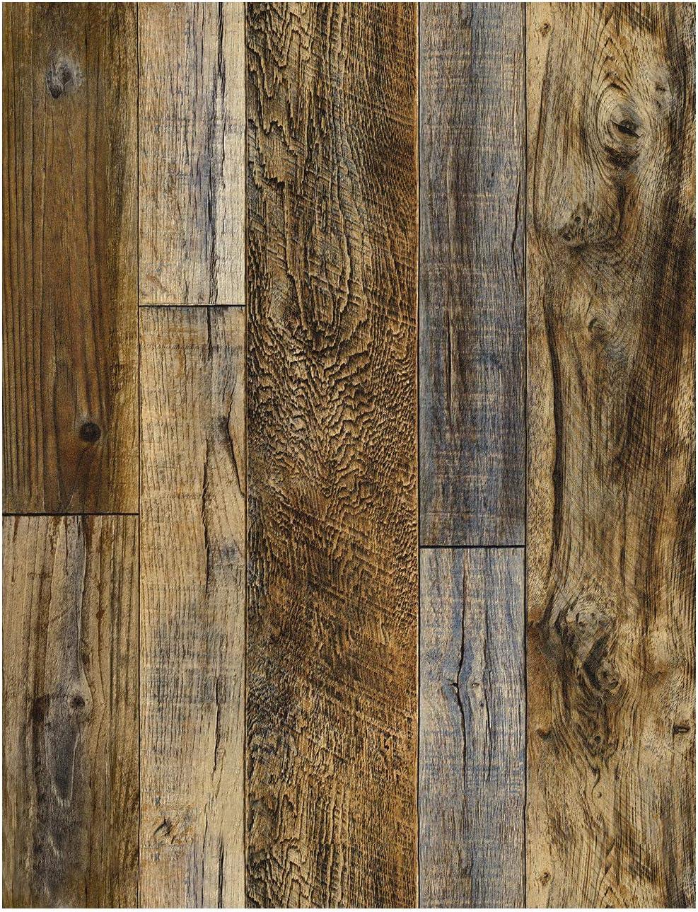 Haokhome 92048 2 Peel And Stick Wood Plank Wallpaper Shiplap 17 7 X 9 8ft Brown Vinyl Self Adhesive Decorative Amazon Com