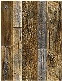 "HaokHome 92048-2 Peel and Stick Wood Plank Wallpaper Shiplap 17.7""x 9.8ft Brown Vinyl Self Adhesive Decorative"