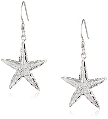 07492f44e Amazon.com: Sterling Silver Diamond Cut Starfish Dangle Earrings: Jewelry
