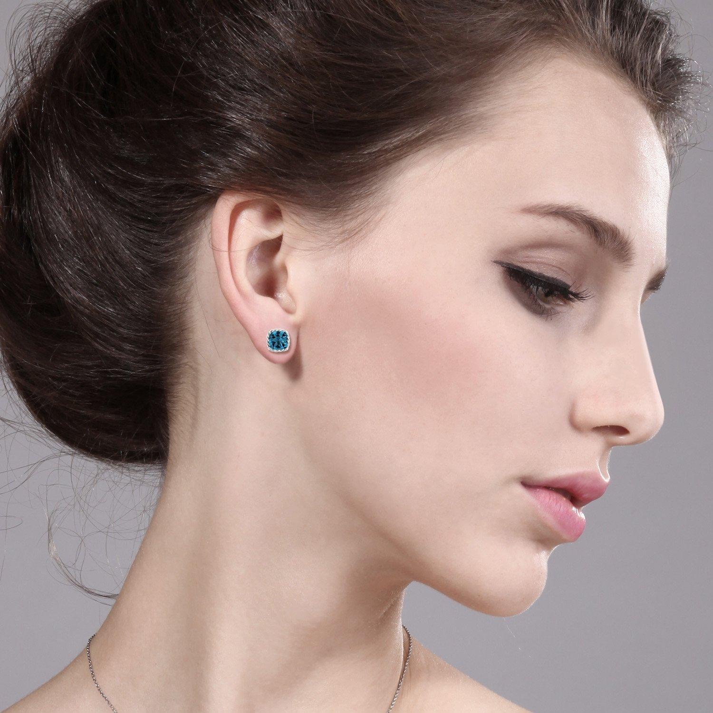 Gem Stone King 10K White Gold London Blue Topaz Stud Earrings, 3.70 Cttw Cushion Cut 7MM
