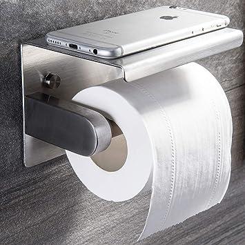 Ruicer Portarrollo para Papel Higiénico Adhesivo Portarrollos Baño con el Teléfono Móvil Estante, Acero inoxidable SUS304