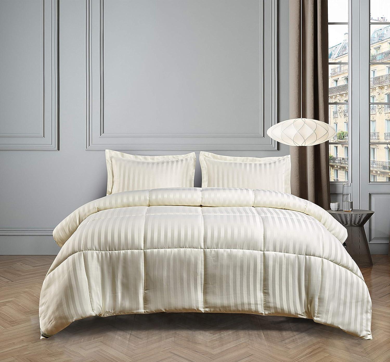 Blue Ridge Home Fashions DA-C3-KI Microfiber Damask Stripe Solid 3 Pieces Reversible Down Alternative Comforter Set - All Season Warmth, Twin, Bone