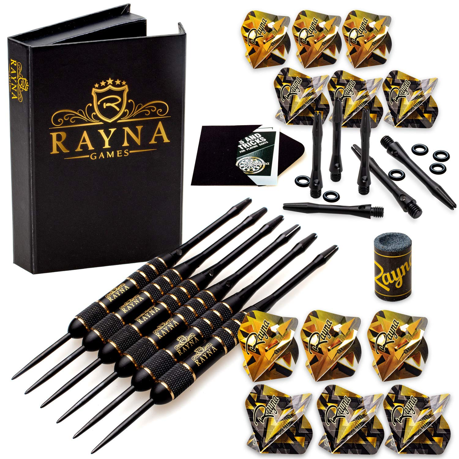 Professional Darts Set - Steel Tip Darts with Dart Accessories Kit - Customizable Configuration 6 Brass Barrels 20 Grams, 12x Aluminum Shafts 35/48mm, 12x Flights, Dart Sharpener and Premium Dart Case