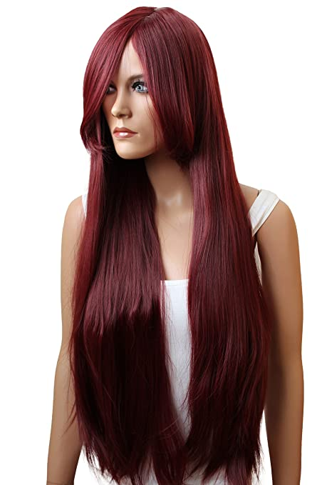 PRETTYSHOP Peluca de pelo largo rizado de fibra sintética resistente al calor rojo CP21