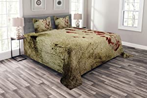 Ambesonne Horror House Bedspread, Grunge Dirty Wall Bloody Hand Print Murky Palm Trace Victim Violence, Decorative Quilted 3 Piece Coverlet Set with 2 Pillow Shams, King Size, Beige Red