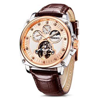 a09fd70510700 Time100 Montre Mécanique Automatique Bracelet Cuir véritable Multifonction  Cadran Fritillaire Naturelle la Date Mouvement Japonaise étanche