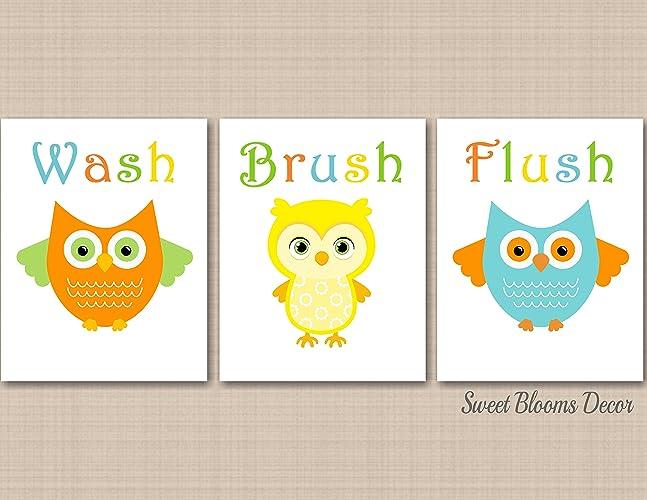 Amazon Com Owl Bathroom Wall Art Owl Kids Bathroom Decor