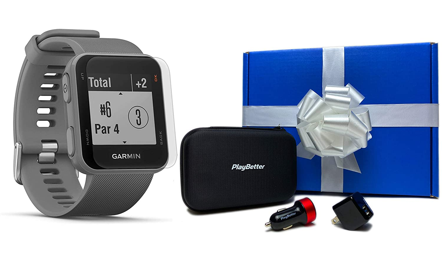 Garmin Approach S10 Powder Gray Beat Yesterday Gift Box Bundle HD Screen Protectors, PlayBetter USB Car Wall Adapters Protective Hard Case Golf GPS Watch 40,000 Worldwide Courses