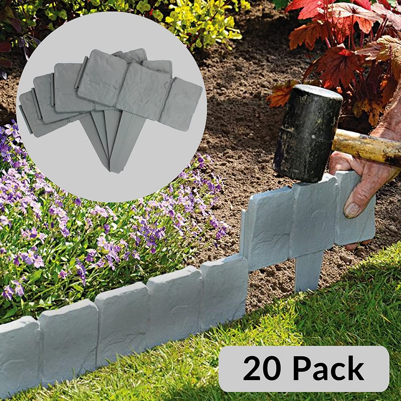 5 Meter Grey Stone Effect Lawn Edging | Plant Bordering | Hammer In Cobblestone Garden Border | Flower Bed & Grass | 20 Pieces (5m) M&W Xbite