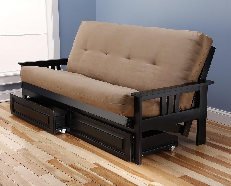 Amazoncom Monterey Full Size Futon Sofa and Drawer Set Black