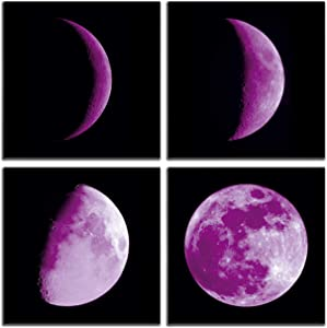 aburaeart Moon Wall-Art - Bedroom Wall Decor for Women Abstract Space Black and White Wall Art - Home Office Decor - Purple Pictures Canvas Art 4 Pieces Wall Decoration Size 14x14 Each Panel