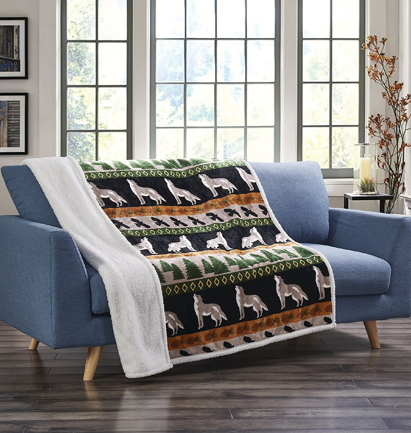 "Wolf and Hawk Flannel Throw Blanket with Sherpa Backing 50"" x 60"""