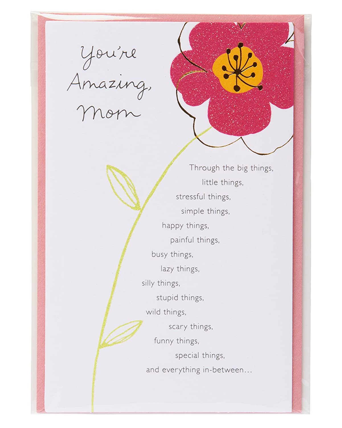 Amazon American Greetings Youre Amazing Floral Birthday Greeting Card For Mom With Glitter Office Products