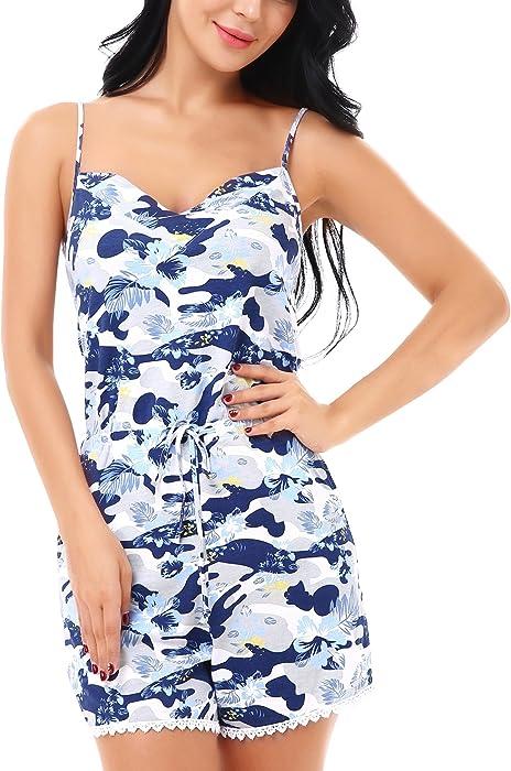 04320761395b Yulee Women s Camisole Cotton Sleepwear Romper with Pocket Floral Blue