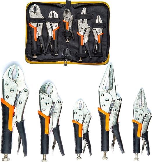 """KOBALT 3 Pc Locking Pliers Set 6.5/"""" Long Nose 7/"""" /& 10/"""" Curved Jaw Vise Vice Grip"""