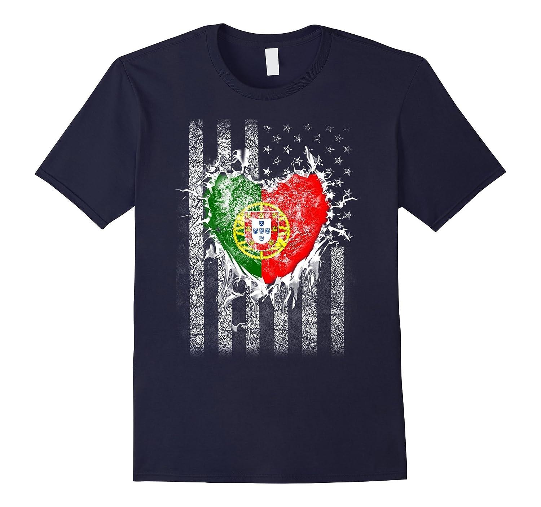 Vintage PORTUGAL Tee Portuguese Hearts American Flag Tshirt-FL