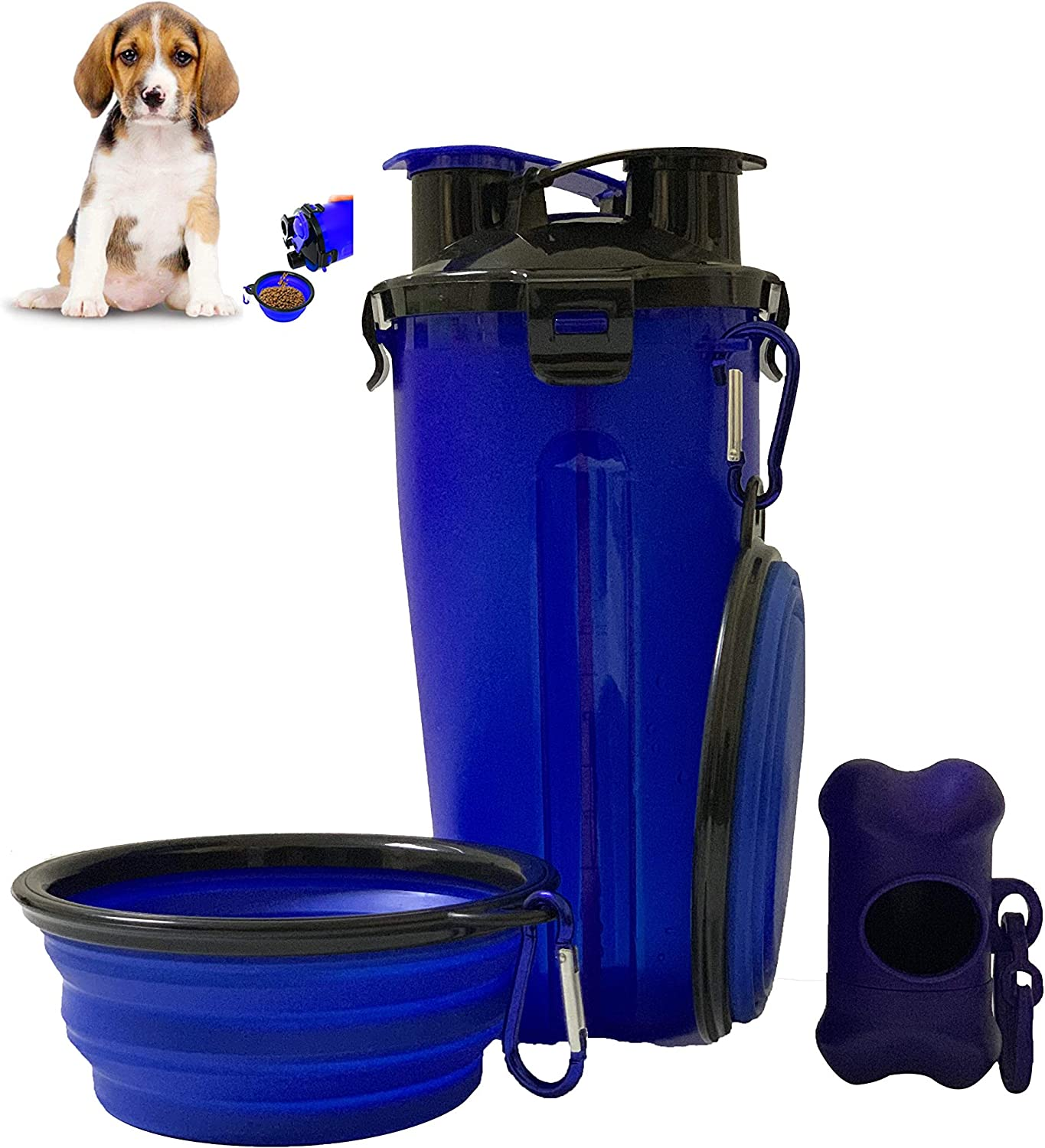 N/H 2in1 Dog Water Bottle Pet Food Container with 2 Collapsible Dog Bowls and Cute Poop Bag Storage Tool for Walking Travelling Camping, Portable Drinking Bottle for Cat Puppy