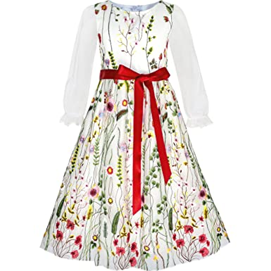 Sunny Fashion KE71 Flower Girls Dress Embroidered Long Sleeve Party Birthday Size 4