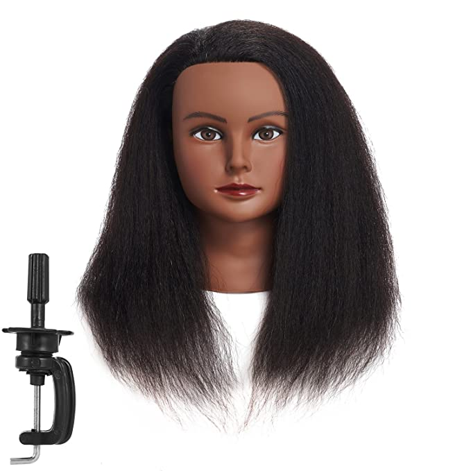 Amazon Com Traininghead 100 Real Hair Mannequin Head Training Head Cosmetology Manikin Practice Head Doll Head With Free Clamp Female 14 Inches B Beauty