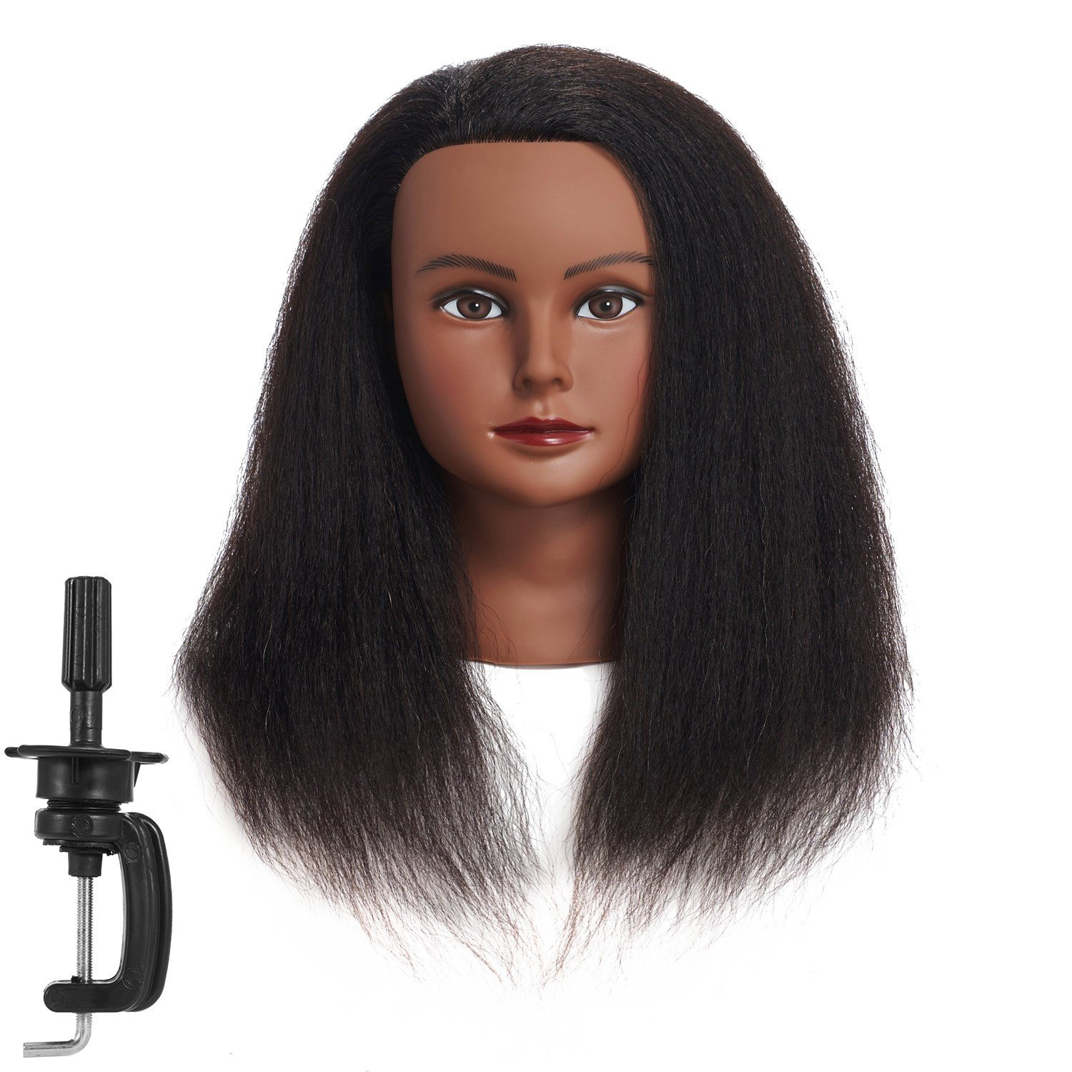 Traininghead 100% Real Hair Female Mannequin Head Training Head Styling Cosmetology Manikin Head Doll Head With Free Clamp (2018B0214)