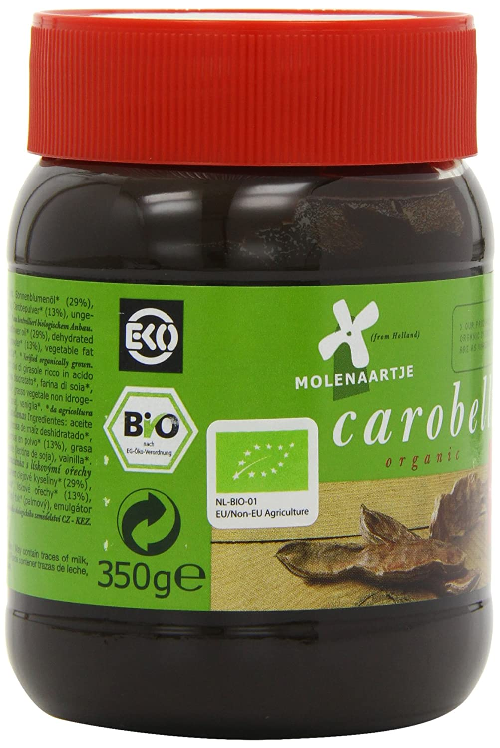 Amazon.com : Molenaartje Organic Carobella Hazelnut Spread 350 g (Pack of 3) : Grocery & Gourmet Food