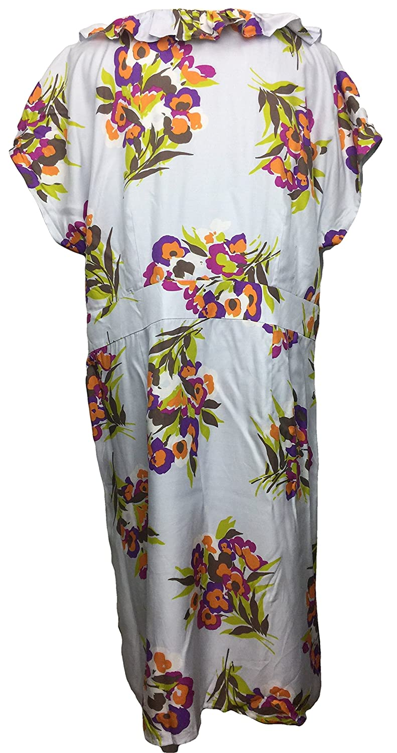 BODEN Ruffle Front Floral Lined Viscose Silk Dress Size US 16