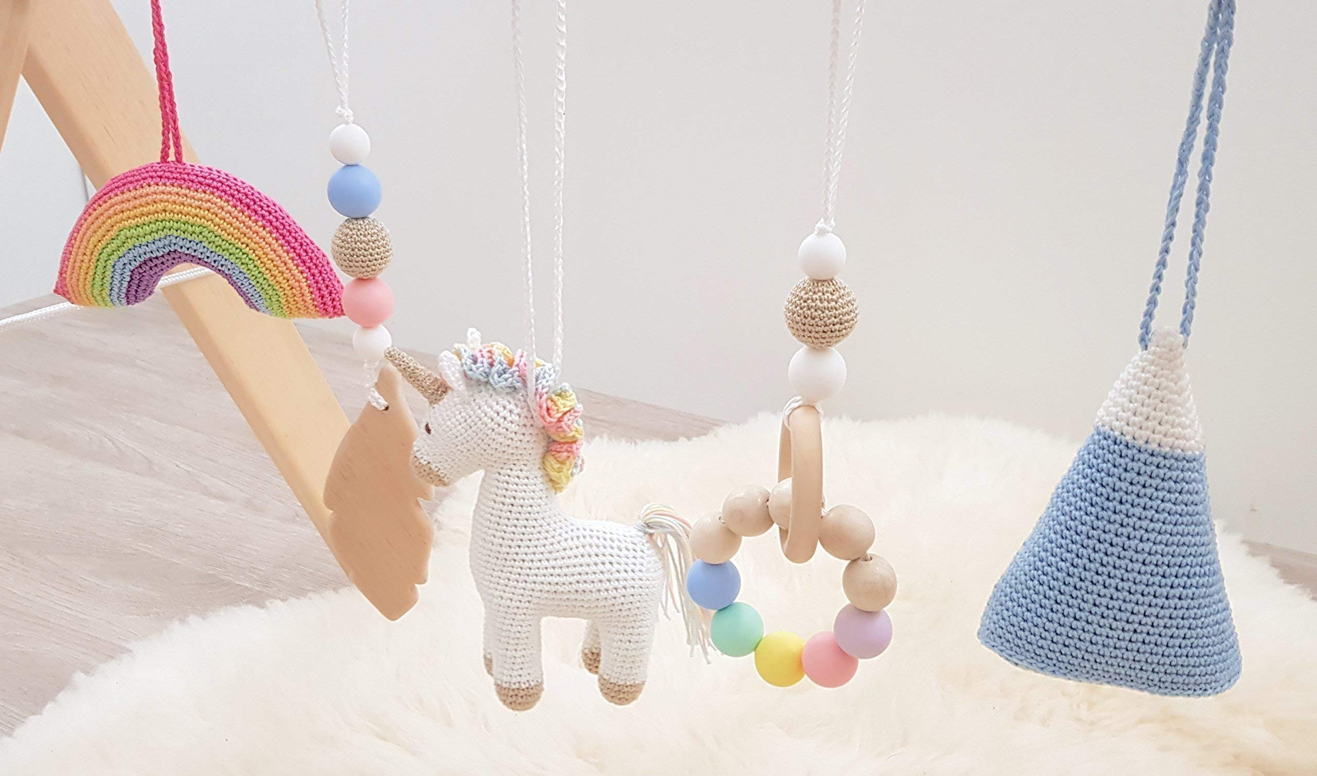 Rainbow Unicorn Baby Play Gym with 5 Mobiles: Unicorn, Rainbow, Mountain, Feather, Beaded Ring. Handmade by… 6