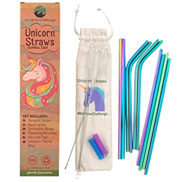 Unicorn Straws | Rainbow Stainless Steel Straws for Drinking | Package of 8  | 4 Straight 4 Bent | BPA Free and Environmentally Friendly | Plastic