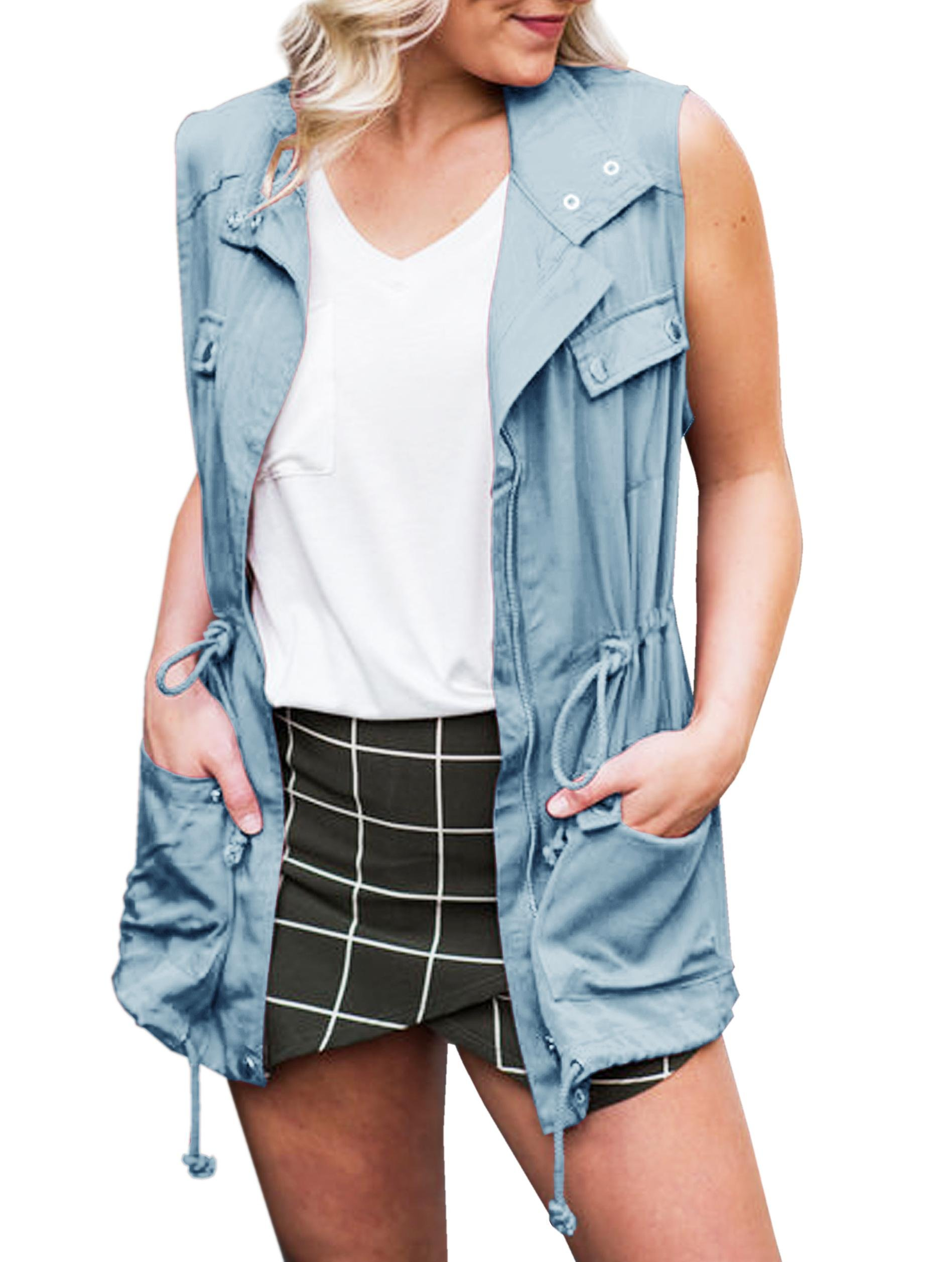Ofenbuy Womens Casual Sleeveless Jacket Lightweight Military Drawstring Jacket Vest with Pockets