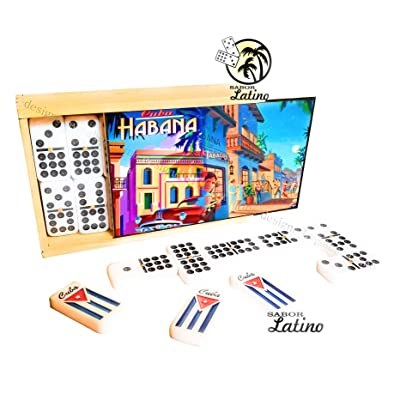Double Nine Dominoes Set Game in Wood Box NEW: Toys & Games