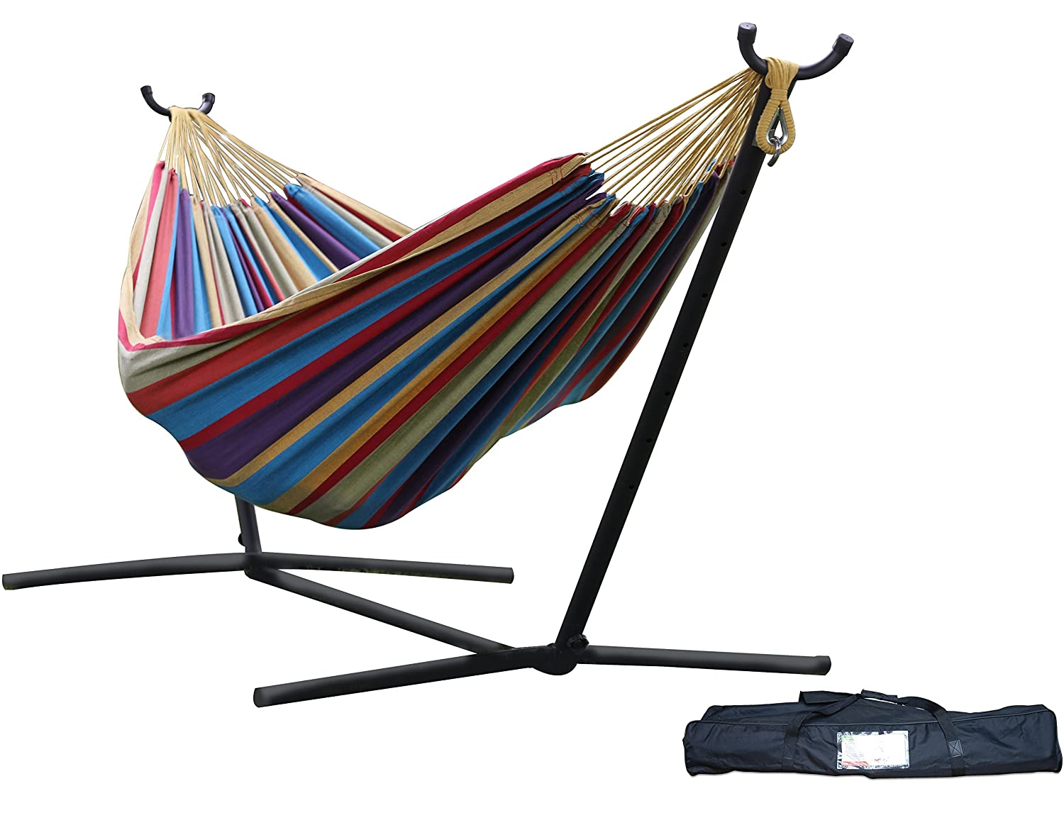 Vivere Double Hammock with Space-Saving Steel Stand, Tropical