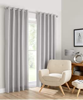 Beryhome Montana Faux Silk Double Layer Lined 100 Blackout Grommet Window Curtains For Living