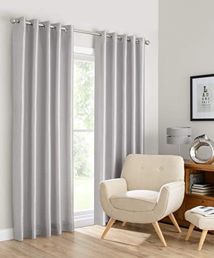 Beryhome Faux Silk Double Layer Lined 100% Blackout Grommet Window Curtains  For Living Room