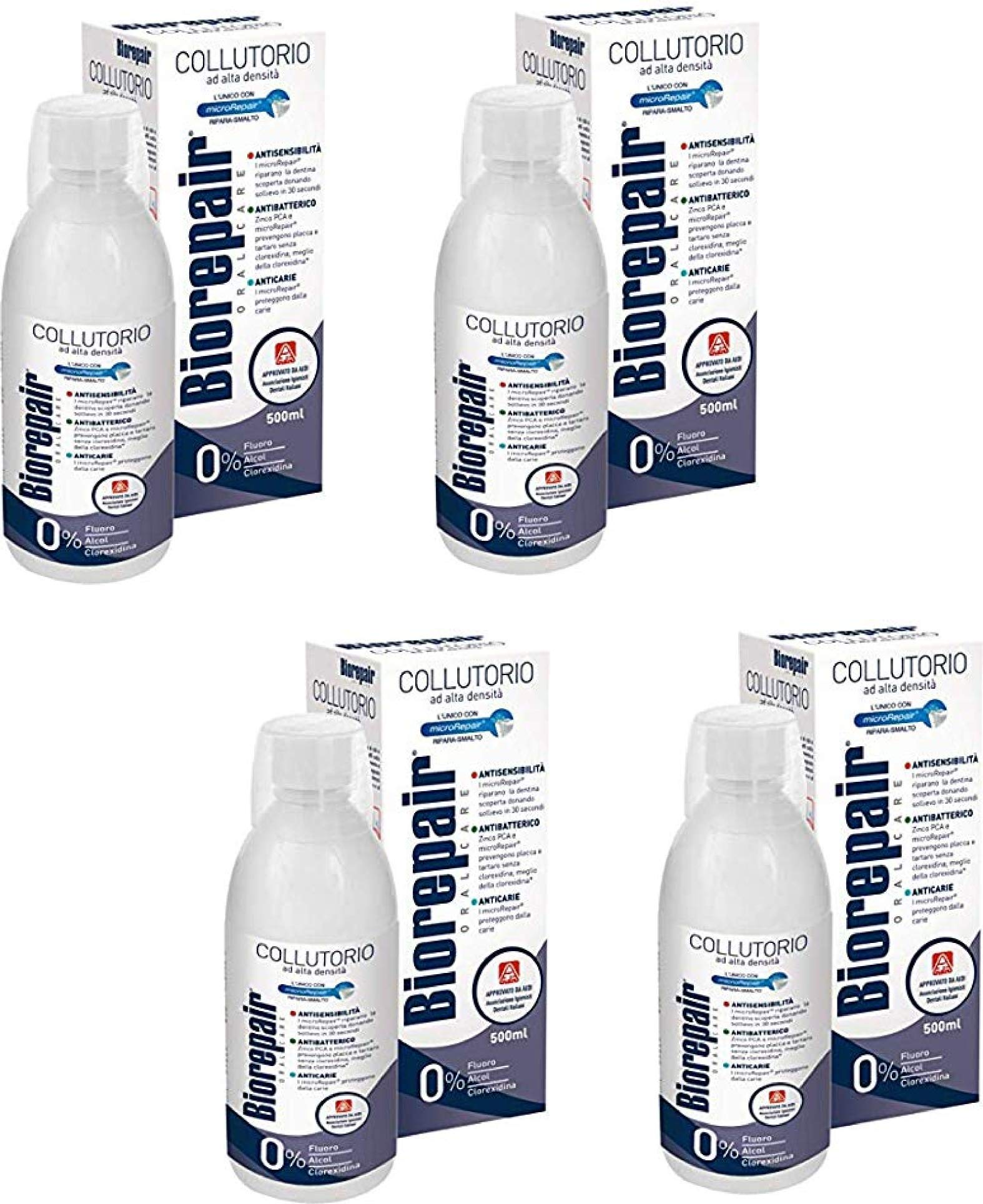 Biorepair:'' Collutorio'' Mouthwash with Antibacterical - 500ml/16.9 fl.oz - Pack of 4 by Biorepair