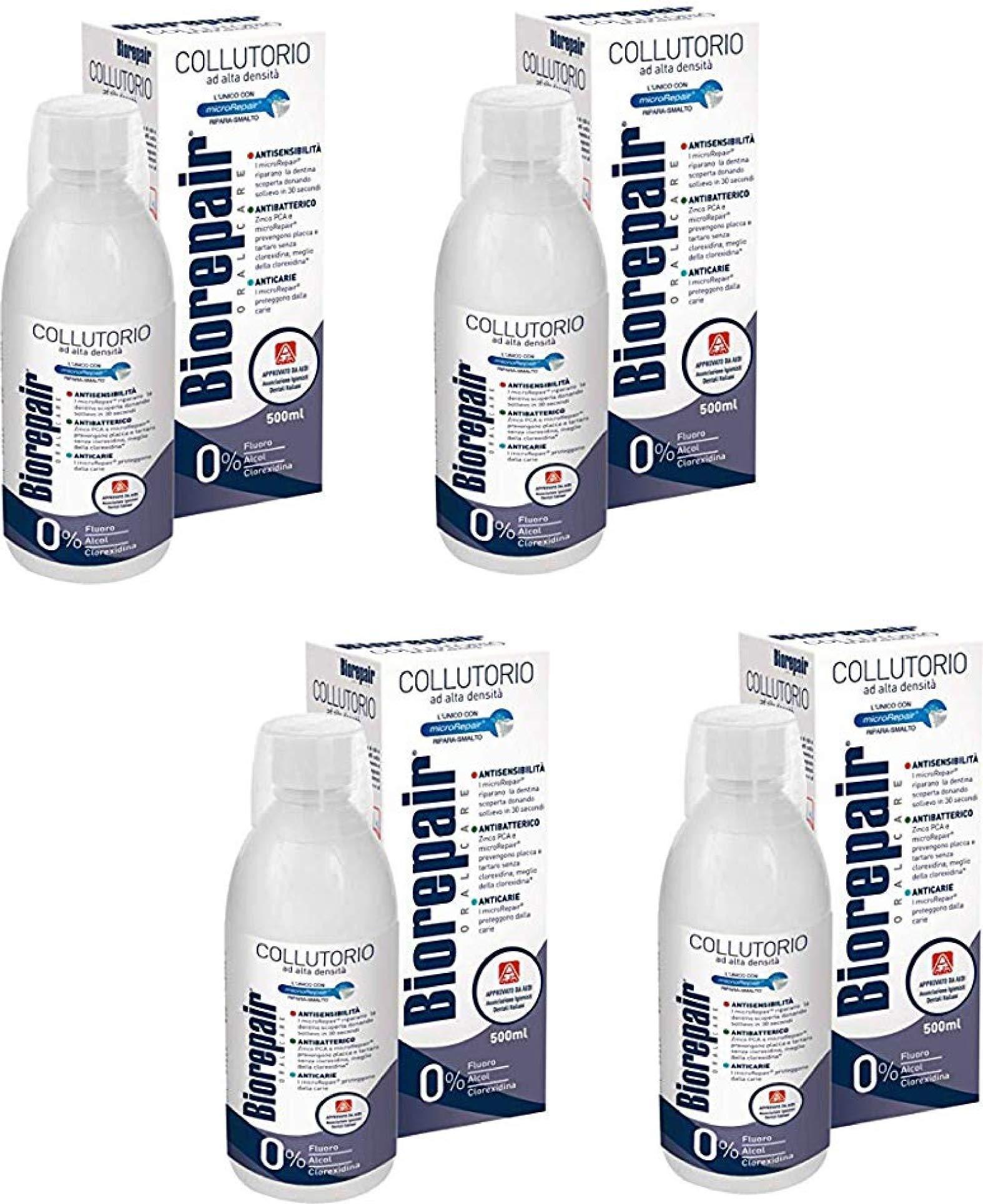Biorepair:'' Collutorio'' Mouthwash with Antibacterical - 500ml/16.9 fl.oz - Pack of 4