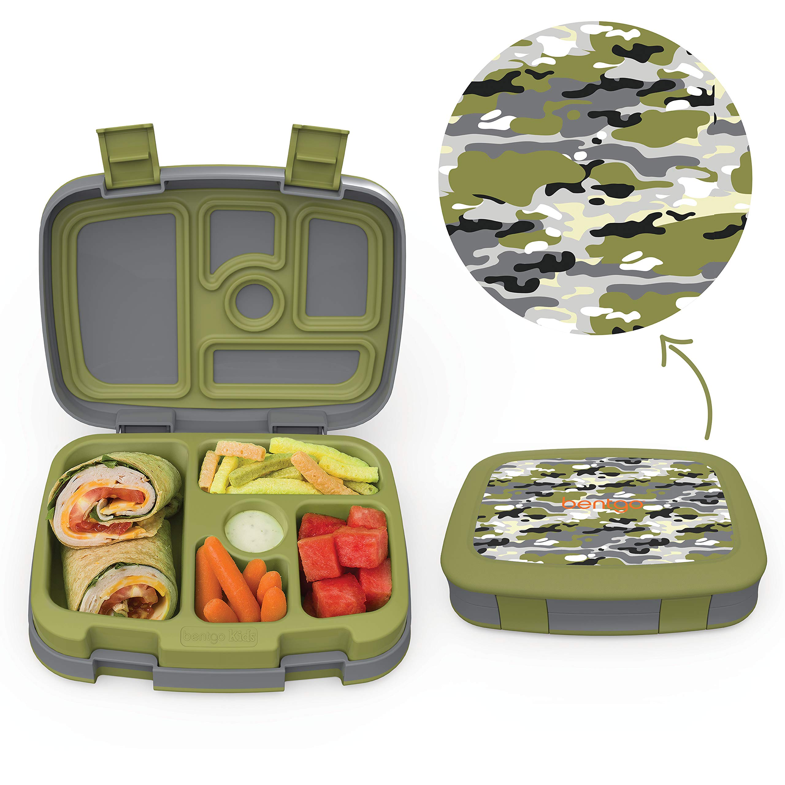Bentgo Kids Prints (Camouflage) - Leak-Proof 5-Compartment Bento-Style Kids Lunch Box - Ideal Portion Sizes for Ages 3 to 7 - BPA-Free and Food-Safe Materials