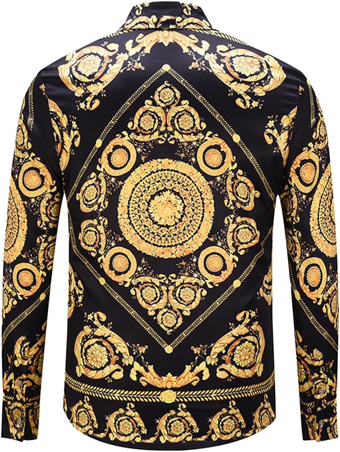 PIZOFF Camicia Lussuosa Stampa Barocco Elegante Uomo a Maniche Lunghe