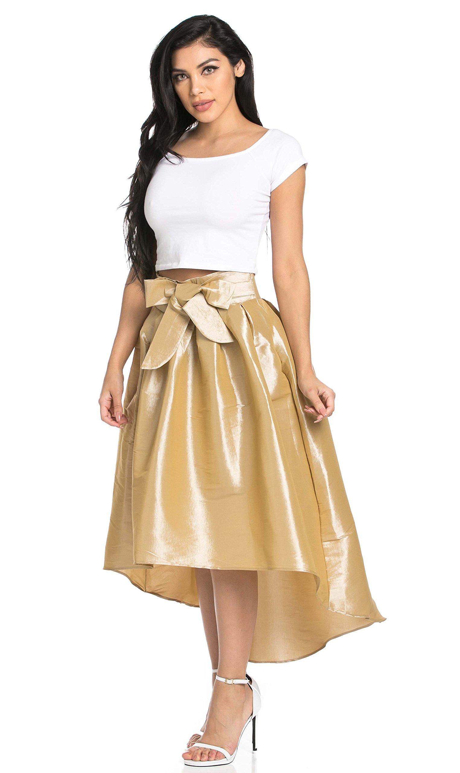SOHO GLAM High-Low Taffeta Pleated Midi-Skirt in Stone