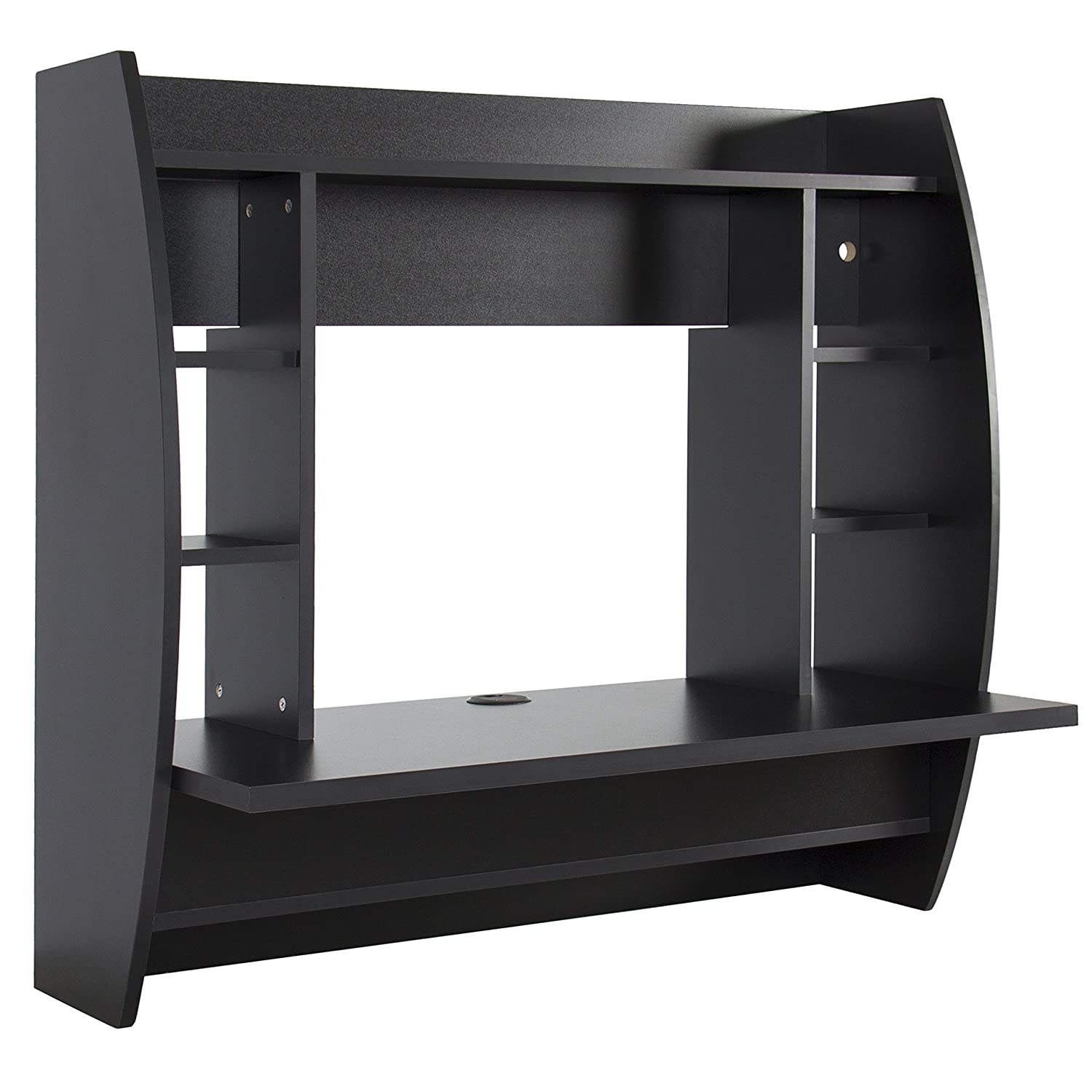 Amazon.com: Best Choice Products Wall Mount Floating Computer Desk With  Storage Shelves Home Work Station  Black: Home U0026 Kitchen