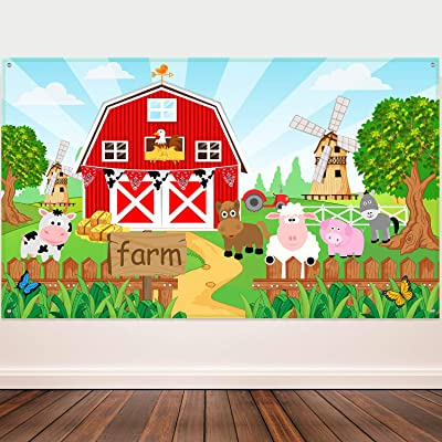 Farm Animals Theme Party Decorations, Farm Animals Barn Backdrop Banner for Grass Children Birthday Party Supplies, Farm Animals Scenic Background Photo Booth Banner, 72.8 x 43.3 Inch: Toys & Games