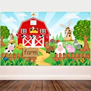 Farm Animals Theme Party Decorations, Farm Animals Barn Backdrop Banner for Grass Children Birthday Party Supplies, Farm Anim