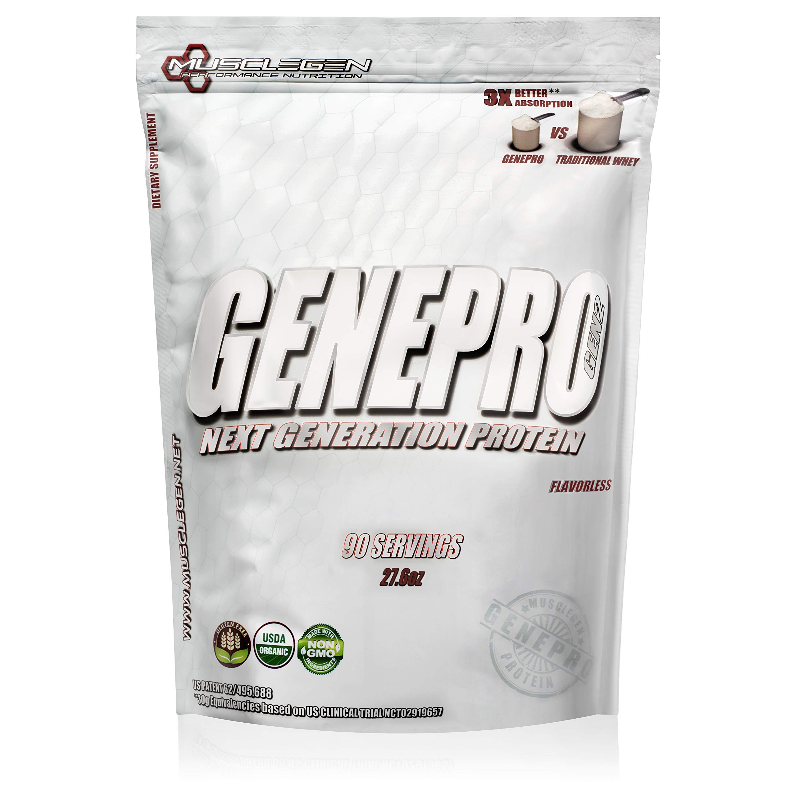 Medical Grade Protein, GENEPRO by Musclegen Research- Premium for Absorption, Muscle Growth & Bariatric. Organic, Non GMO, Gluten Free, No Sugar, Flavorless & Mixes with Any Drink. Bag Varies