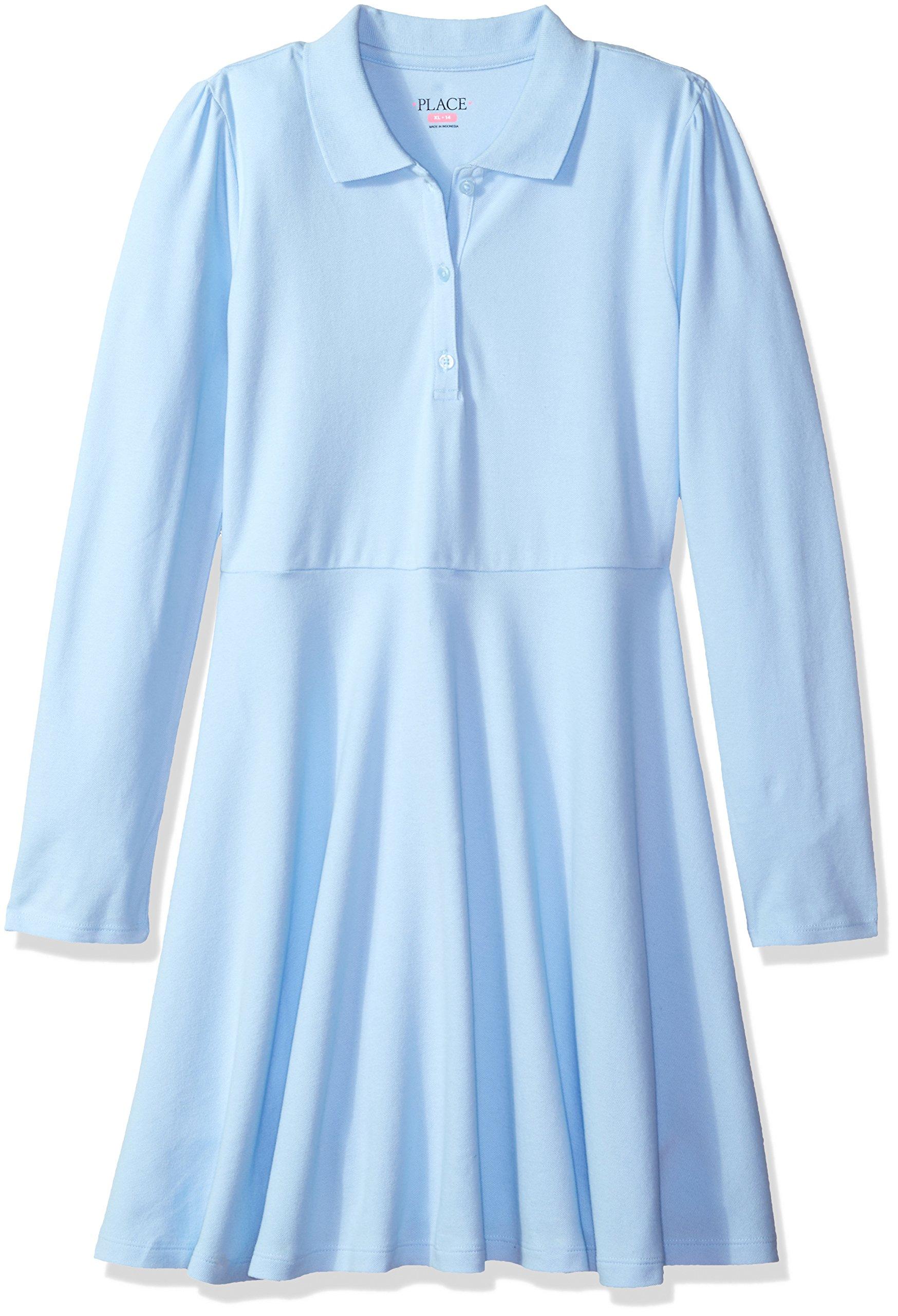The Children's Place Big Girls' Uniform Long Sleeve Polo Dress, Day Break 44394, X-Large/14