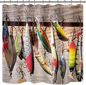 Riyidecor Fishing Lure Shower Curtain Fish Fisherman Ocean Barn Door Rustic Bathroom Home Decor Fabric Set Polyester Waterproof 72Wx72H Inch 12 Pack Plastic Hooks