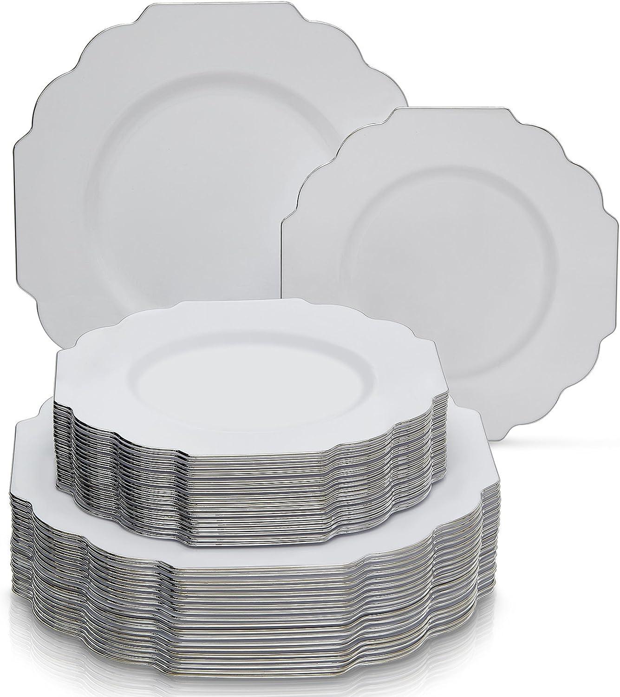 Placas laterales de plástico desechables, plástico, Blanco, 20 Servings