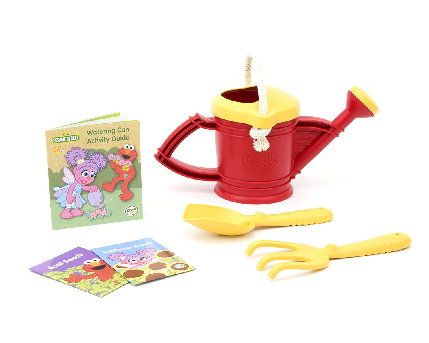 Green Toys Sesame Street Watering Can - Elmo Outdoor Activity Set SSWTCR-1316