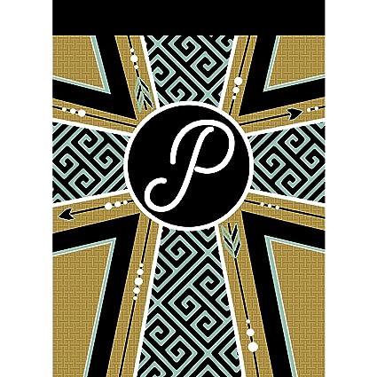 Amazon Com Dicksons Black Goldtone Monogram P 13 X 18 Polyester