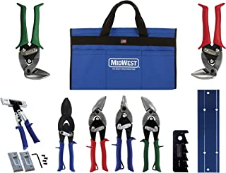 product image for MIDWEST HVAC Tool Kit - 9 Piece Set Includes Aviation Snips with Metalworking Tools & Bag - MWT-HVACKIT03