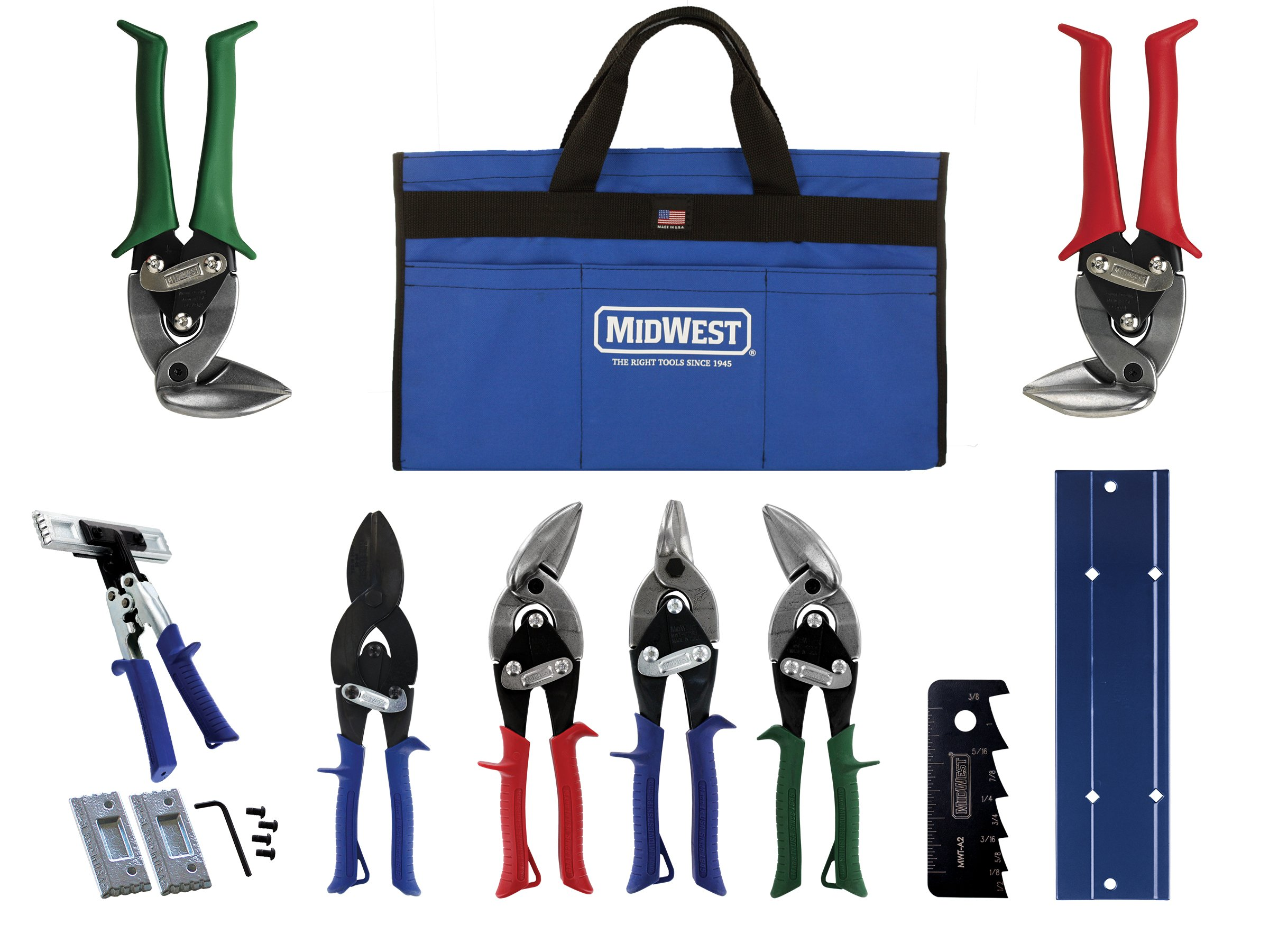 MIDWEST HVAC Tool Kit - 9 Piece Set Includes Aviation Snips with Metalworking Tools & Bag - MWT-HVACKIT03 by Midwest Tool & Cutlery (Image #1)