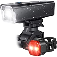 iKirkLiten 2020 Upgraded 800 Lumens Bike Light USB Rechargeable, LED Bicycle Headlight Front and Back Rear Tail Lights…